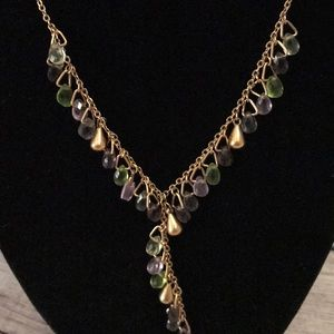 Lia Sophia Jewelry - Purple, Green and Gold Statement Necklace